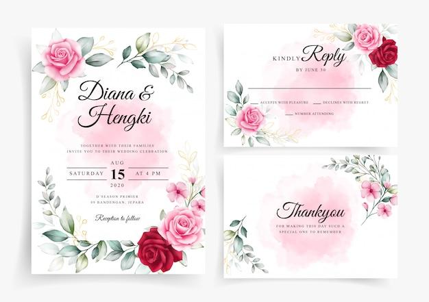 웨딩 카드 초대장 서식 파일에 우아한 꽃 수채화