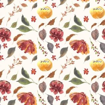 우아한 꽃 수채화 원활한 패턴 배경