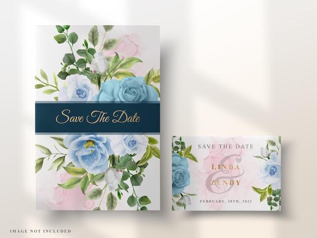 Элегантный цветочный акварельный свадебный пригласительный билет