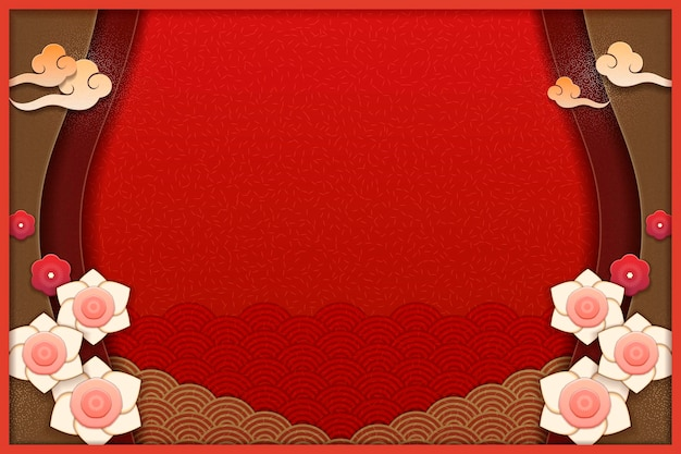 Elegant floral and wave pattern background in red and earth tone, paper art