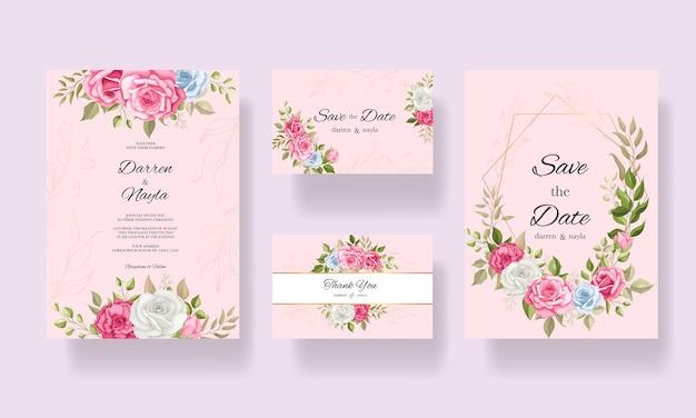 우아한 꽃 웨딩 카드 템플릿 디자인
