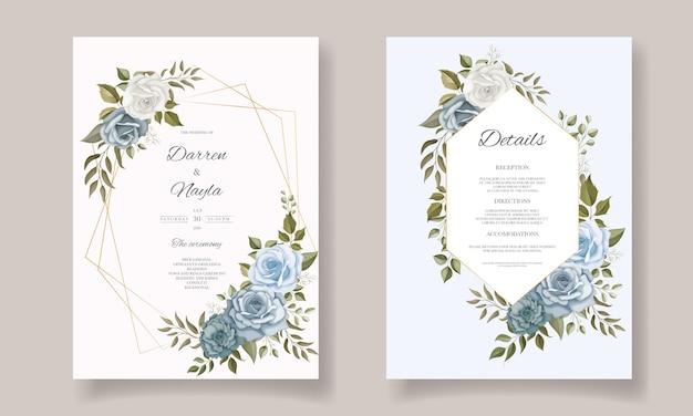 エレガントな花のウェディングカードテンプレートデザイン