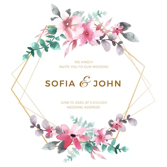 エレガントな花の結婚式フレームコンセプト