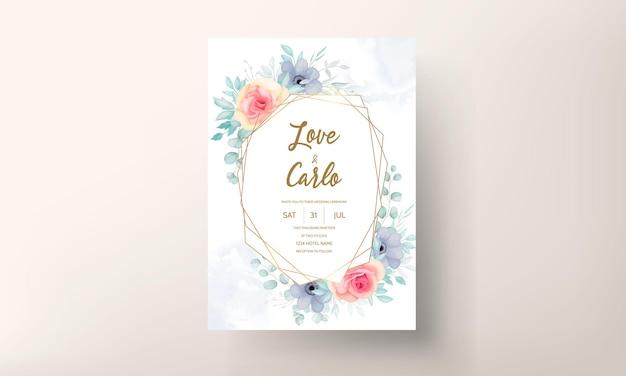 エレガントな花の結婚式の招待カードセット