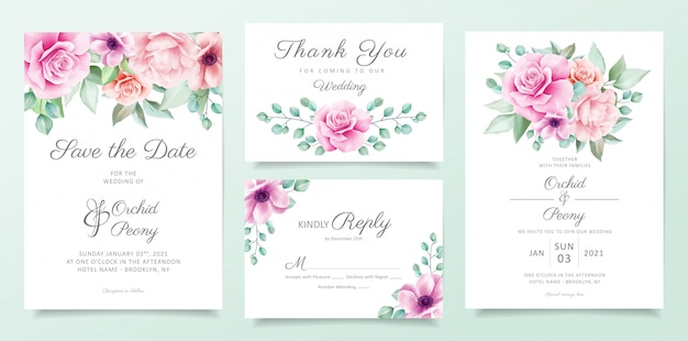 Elegant floral wedding invitation card template set with purple and pink flowers