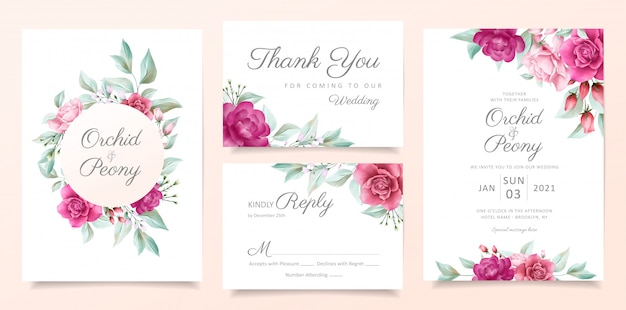 Elegant floral wedding invitation card template set with red roses flowers and leaves