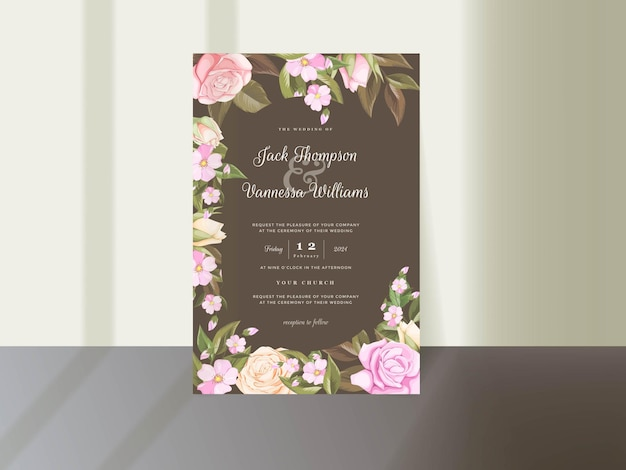 Elegant floral wedding invitation card template with roses and leaf
