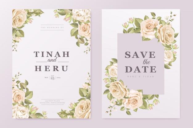 우아한 꽃 결혼식 초대 카드 템플릿
