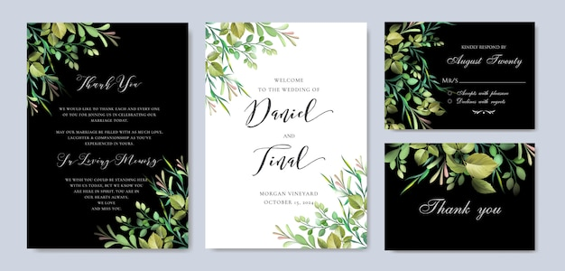 Elegant floral wedding and invitation card template