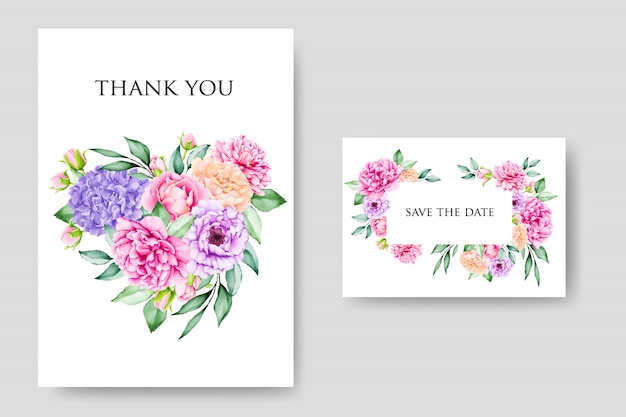 Elegant floral wedding and invitation card template