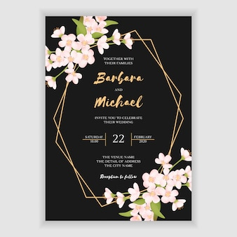 Elegant floral wedding invitation card template
