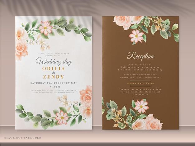 Элегантные цветочные шаблоны свадебных приглашений