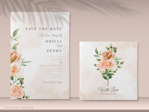 Elegant floral wedding invitation card templates