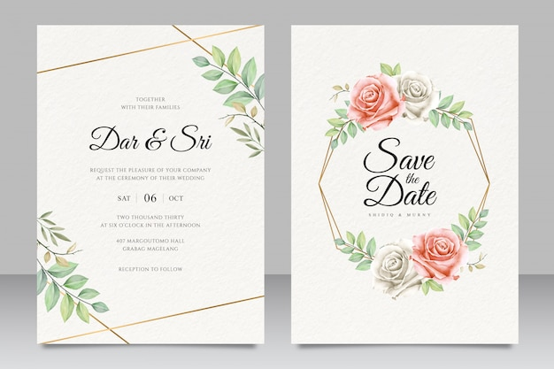 Elegant floral wedding invitation card with beautiful golden geometric