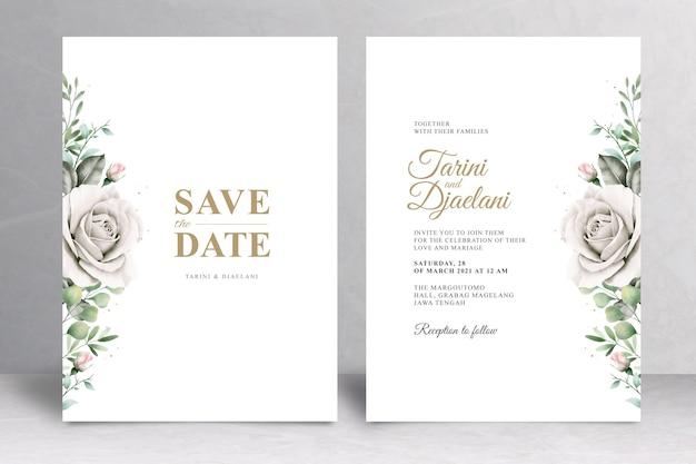 우아한 꽃 결혼식 초대 카드