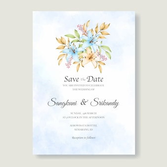 Elegant floral wedding invitation card