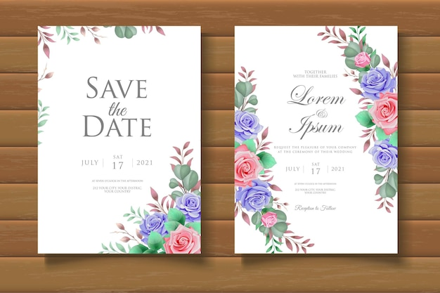 Elegant floral wedding invitation card