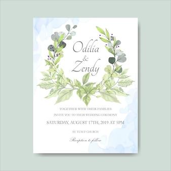 우아한 꽃 결혼식 안내장 카드