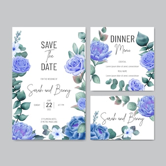 Elegant floral wedding invitation and menu template