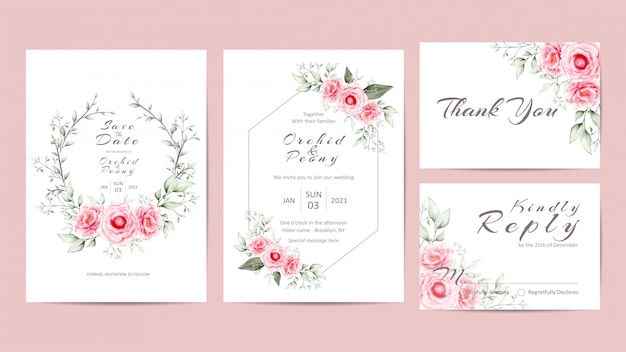 Elegant floral wedding invitation template set with peonies flowers