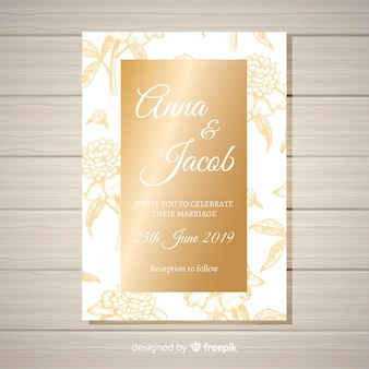 Elegant floral wedding invitation template with golden elements