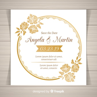 Elegant floral wedding invitation template with golden frame