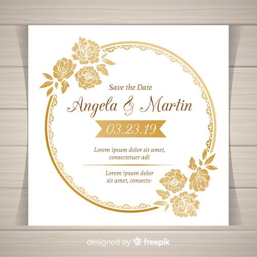 Elegant floral wedding invitation template with golden frame