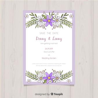 Elegant floral wedding invitation template