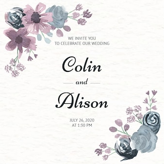 Elegant floral wedding invitation in watercolor