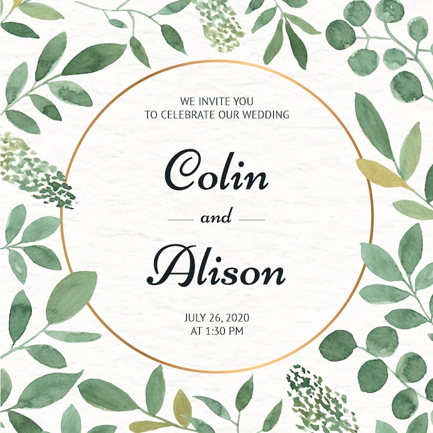 Elegant floral wedding invitation in watercolor