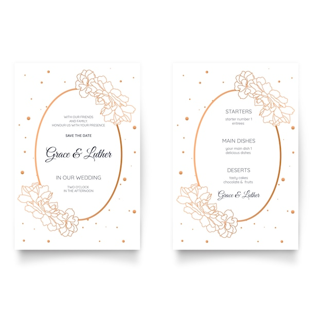 Elegant floral wedding invitation