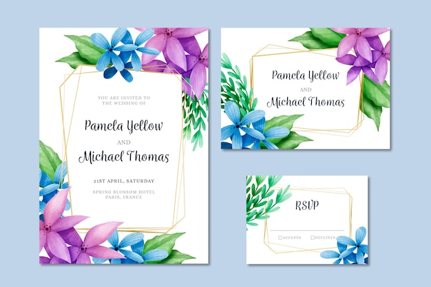 Элегантные цветочные свадебные канцтовары