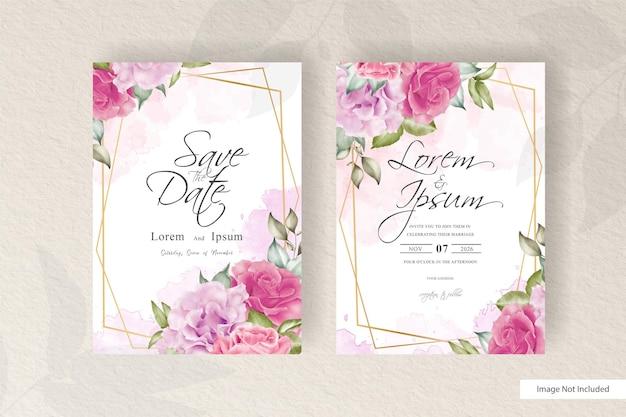 幾何学的なフレームの結婚式の招待カードのテンプレートとエレガントな花
