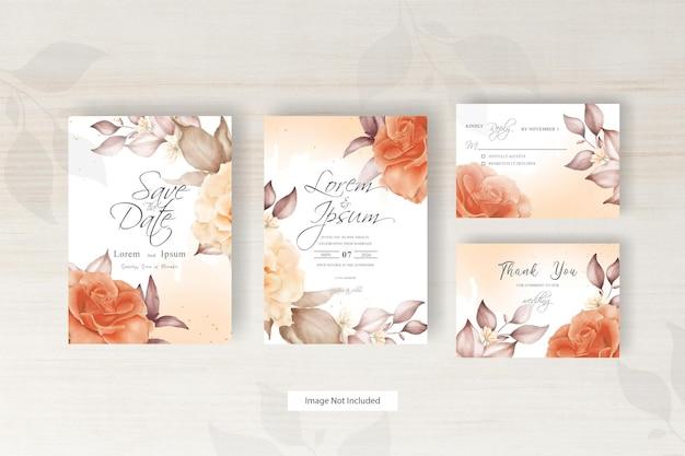 수채화 결혼식 초대 카드 템플릿 우아한 꽃