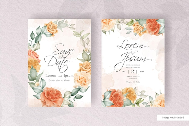 Elegant floral wreath wedding card template set with watercolor and floral decoration. flowers illustration