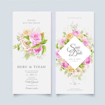 Elegant floral wreath wedding card template