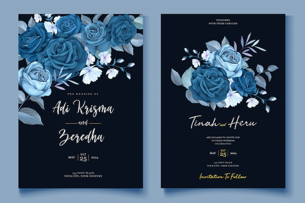 Elegant floral wreath wedding card