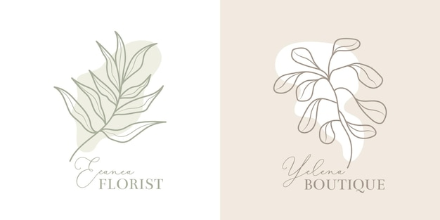 エレガントな花屋のロゴとブティックのロゴ