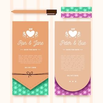 Elegant floristic wedding invitation card collection