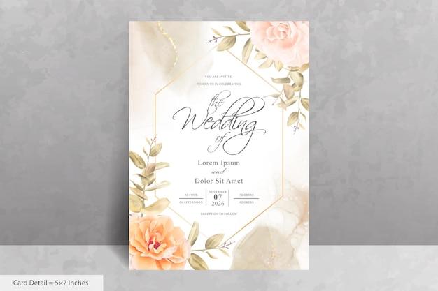 エレガントな花とユーカリのフレームの結婚式の招待カードのテンプレート