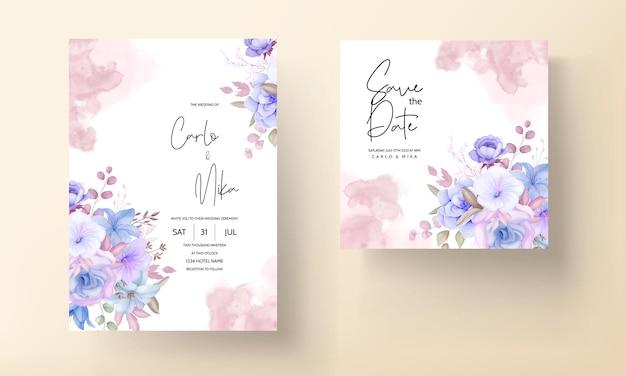 우아한 꽃과 잎 청첩장 디자인