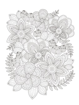 Elegant flower coloring page design in exquisite line