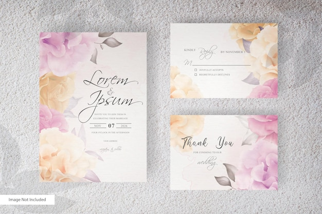 Elegant flower and leaves arrangement wedding invitation with watercolor