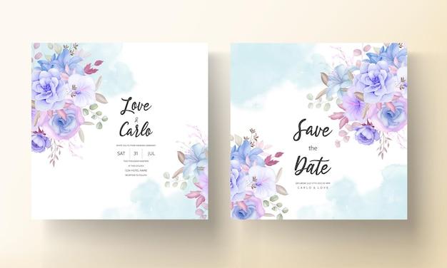 Design elegante della carta di invito a nozze con fiori e foglie