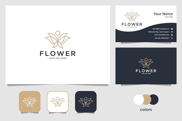 우아한 꽃 라인 아트 스타일 로고 디자인 및 명함