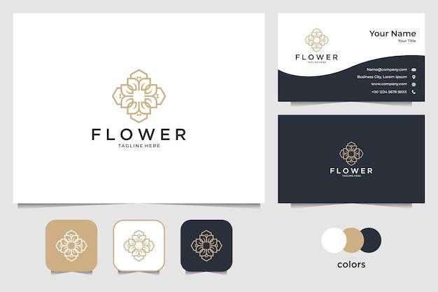 エレガントな花のロゴのデザインと名刺