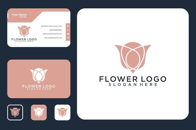 우아한 꽃 로고 디자인과 명함