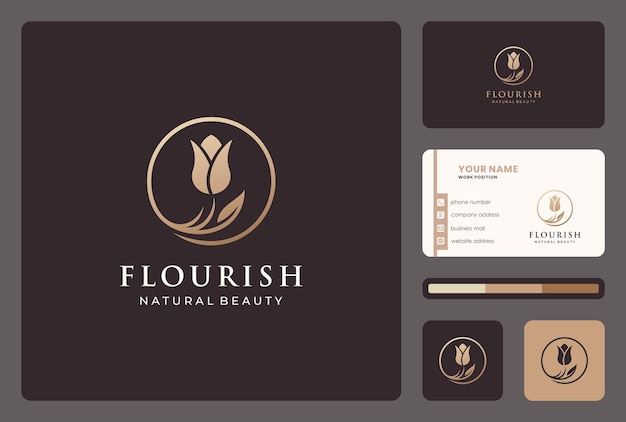 Elegant flower logo design for beauty salon, cosmertic, skin care.