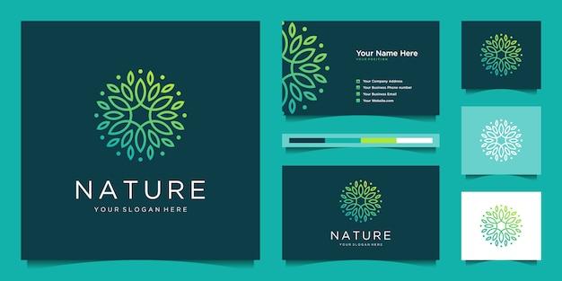 エレガントな花のロゴデザイングラデーションラインアート。