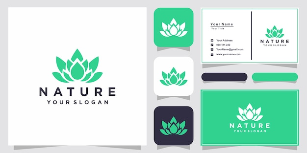 Elegant flower logo design line art and business card